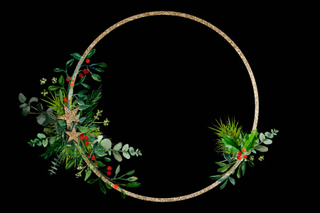Minimal Christmas wreath with some  branches and golden glitter ring on a black background Zdjęcie Seryjne