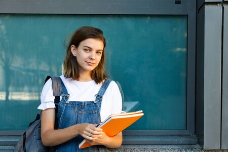 Portrait of a beautiful student girl leaning against the window of the school