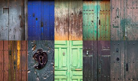 Collage of old rustic wooden front doors in a spanish rural village