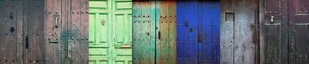 Collage of old rustic wooden front doors in a rural spanish village Imagens - 148480058