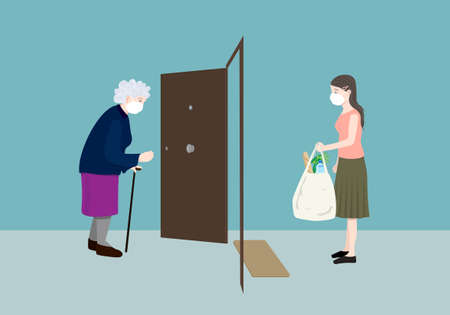 Young volunteer woman delivering grocery supply to an elderly woman in the outbreak. Volunteering concept. Illustration