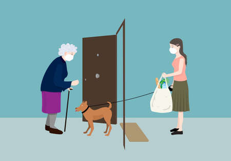 Young volunteer woman helping elderly woman with the grocery and walking her dog in the outbreak. Volunteering concept. Illustration