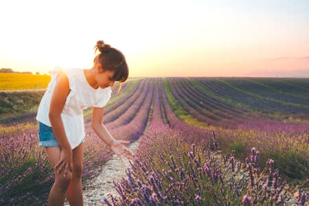 Girl with a hair bun, white blouse and denim shorts enjoying nature and summer in a lavender field, in Valensole, France
