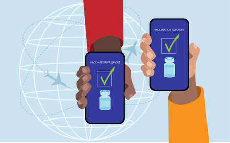 Two hands showing the vaccination passport in the smartphone. Vector illustration