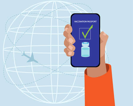 One hand showing the vaccination passport in the smartphone. Vector illustration Illustration