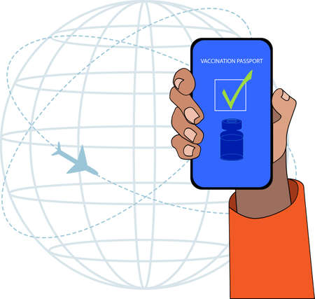 One hand showing the vaccination passport in the smartphone. Vector illustration cartoon style