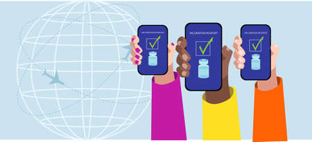 Three hands showing the vaccination passport in the smartphone. Vector illustration