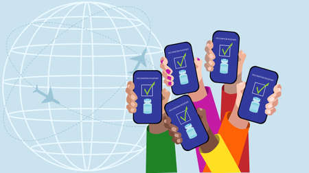 Five hands showing the vaccination passport in the smartphone. Vector illustration