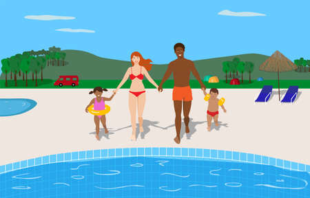 Happy young mixed race family enjoying the pool in a camping. Summer vacation concept Illustration