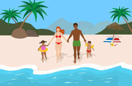 Happy mixed race family running to the water in a tropical beach. Summer vacation concept Illustration