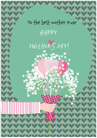 Hand of a person giving a bouquet of Paniculata and tulip flowers to mum. Happy mother´s day greeting card. Vector illustration