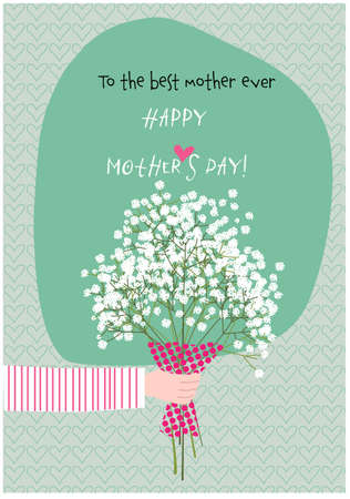 Hand of a person giving a bouquet of Paniculata flowers to mum. Happy mother´s day greeting card. Vector illustration