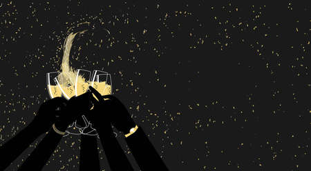 Silhouettes of the arms of a group of people toasting with champagne at a night party while golden confetti falls. Vector illustration