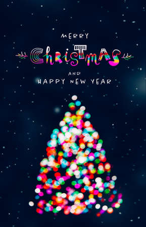 Merry Christmas and Happy New Year greeting with Christmas tree made of colorful defocused Christmas lights at snowing night and funny lettering