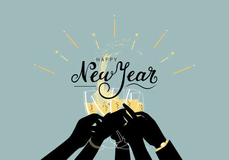 Happy new year greeting illustration with hands of people silhouettes toasting with champagne and lettering