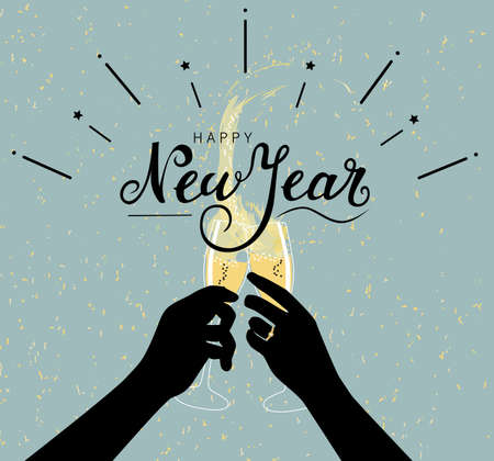 Happy new year greeting illustration with hands of two people silhouettes toasting with champagne and lettering