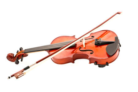 Violin and bow on a white background.