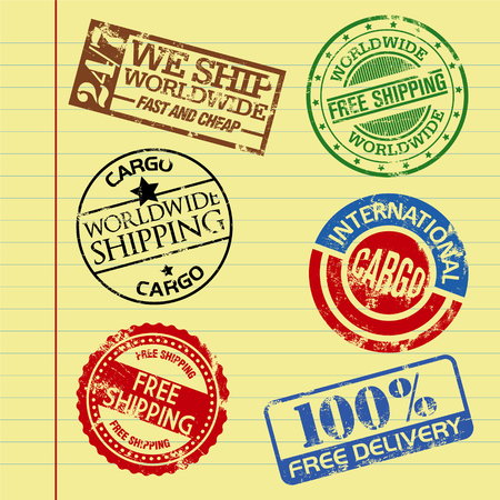 cargo and shipping stamps on a vector paper background Vector