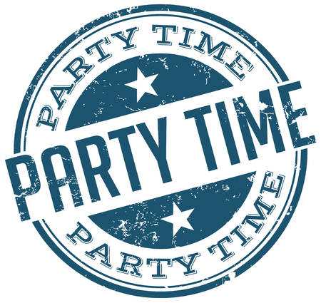 saturday night: party time stamp Illustration