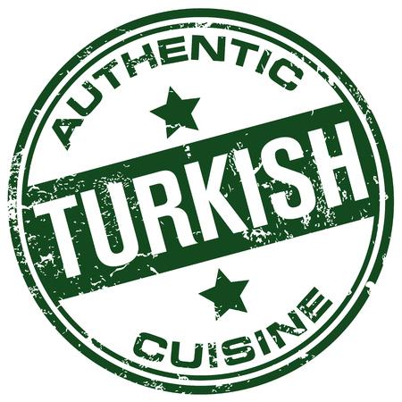 turkish dessert: authentic turkish cuisine stamp Illustration