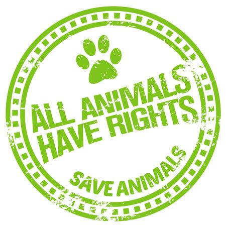 testing: animal rights stamp Illustration