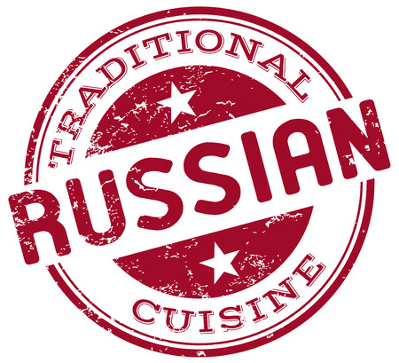 russian food: russian cuisine stamp
