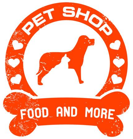 tienda de animales: mascota sello del establecimiento vendedor