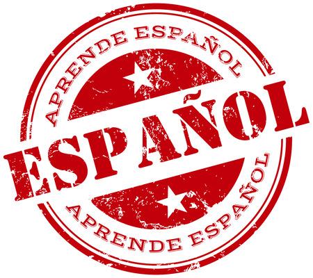 learn spanish stamp in spanish Vettoriali