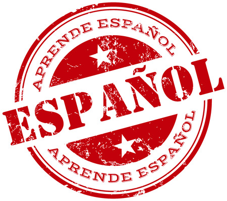 learn spanish stamp in spanish Ilustrace