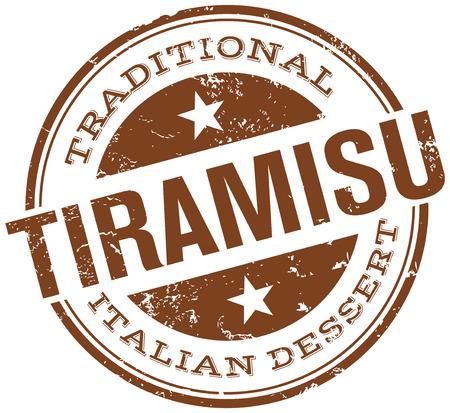 italian dessert tiramisu stamp Vector