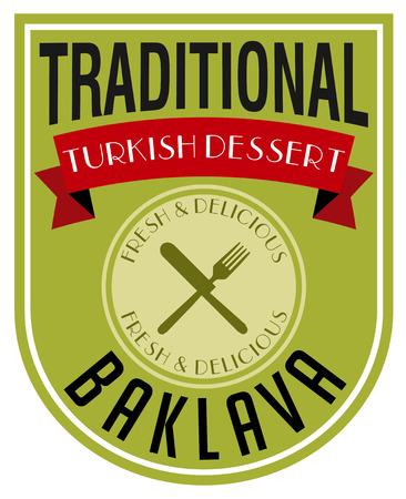 turkish dessert: baklava label