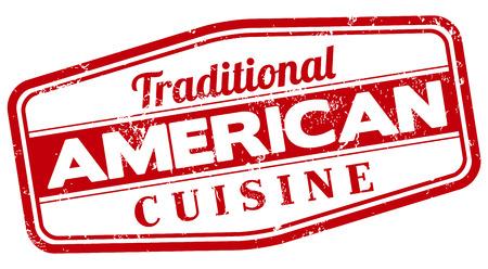 american cuisine: american cuisine stamp Illustration