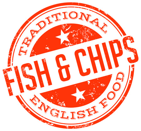 fish and chips: fish and chips stempel Stock Illustratie