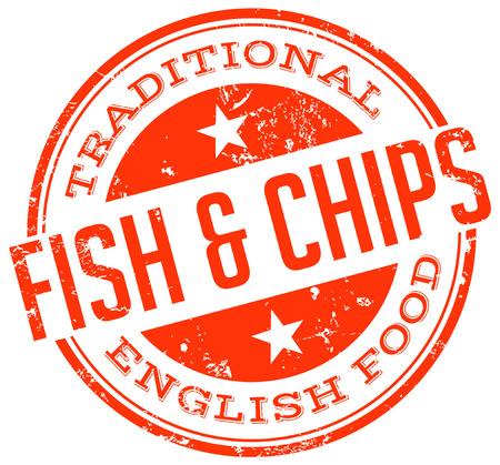 fish and chips: pescado y patatas fritas sello Vectores