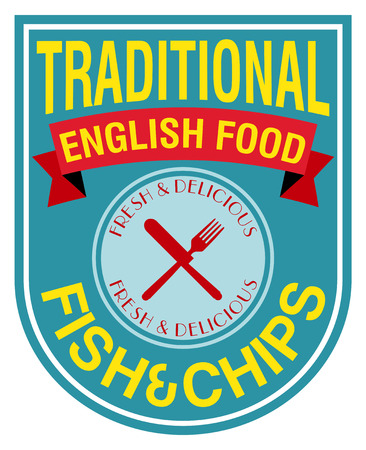 fish and chips: engels eten fish and chips label
