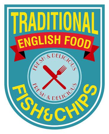 english food: english food fish and chips label Illustration