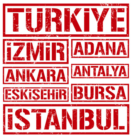 rubber stamps of turkey cities Vector