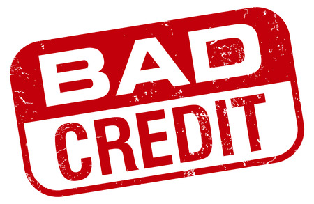 credit report: bad credit stamp Illustration