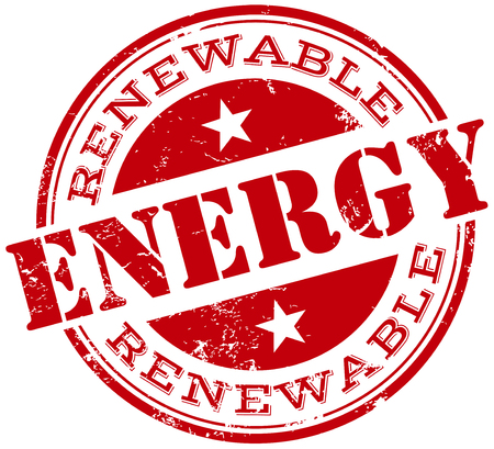 solar heating: renewable energy stamp Illustration