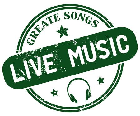 live music: live music stamp Illustration