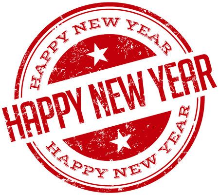 happy new year stamp: nuevo sello feliz a�o Vectores