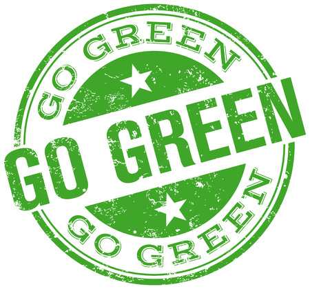 go green icons: go green stamp Illustration