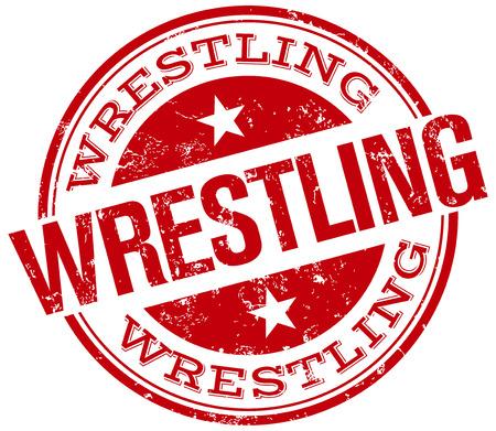 wrestling stamp Vector