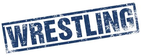 wrestling: wrestling rubber stamp Illustration