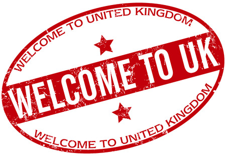 welcome to uk stamp Vectores