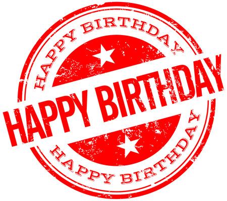 happy birthday stempel Stock Illustratie