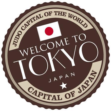 japan flag: tokyo label Illustration