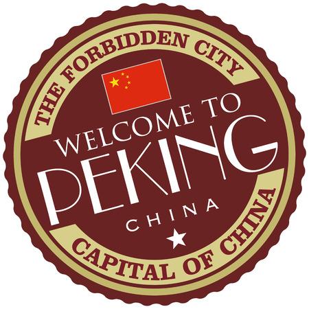 forbidden city: peking label Illustration