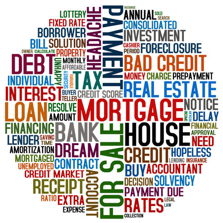 solvency: mortgage words collage Stock Photo