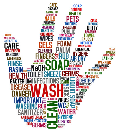 limpieza: collage lavado de manos Foto de archivo